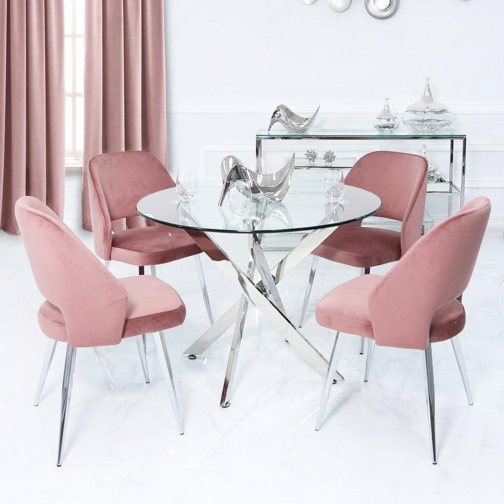Alexzander Round Dining Set With 9 Blush Pink Velvet Chairs