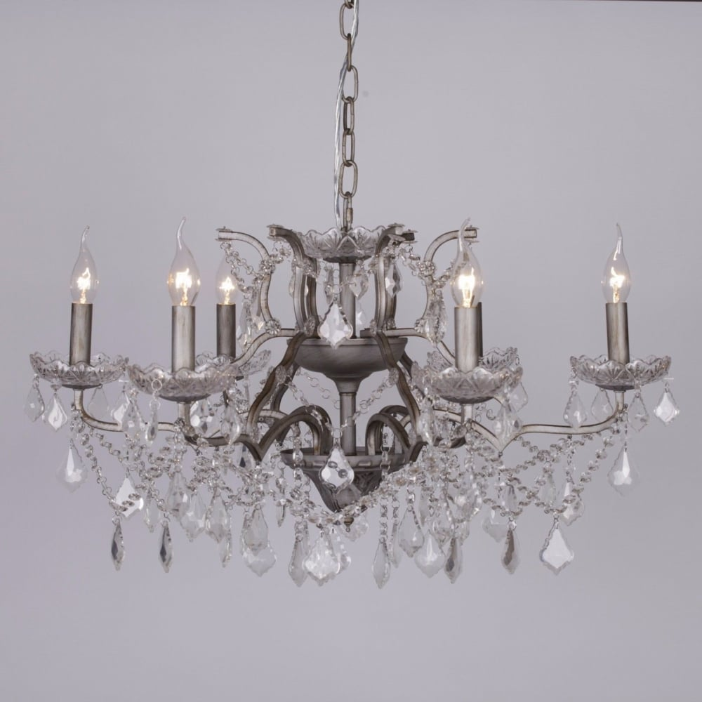 Antique silver 6 branch shallow cut glass chandelier lighting from antique silver 6 branch shallow cut glass chandelier aloadofball Gallery