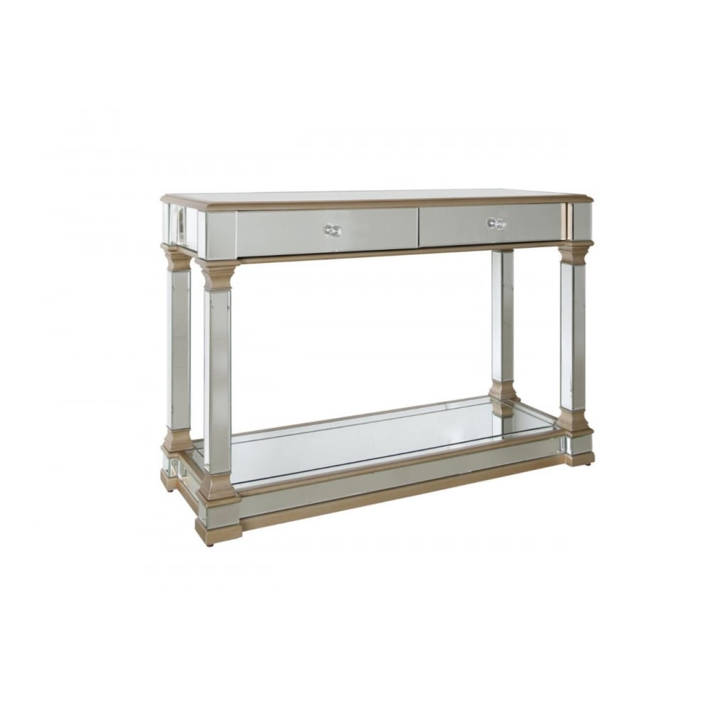 Aphrodite 2 Drawer Mirror Console Table with Crystal handles ...