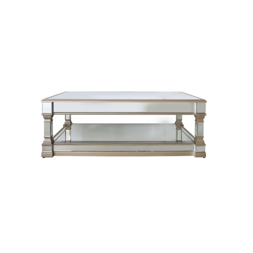 Aphrodite Antique Style Venetian Mirrored Column Coffee Table