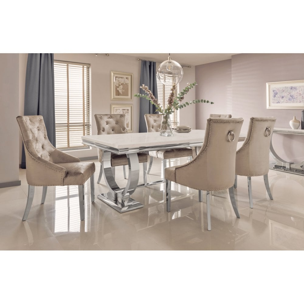 Arianna Marble Dining Table Set In Cream Marble Down Stairs Delivery Only Dining Room From Breeze Furniture Uk