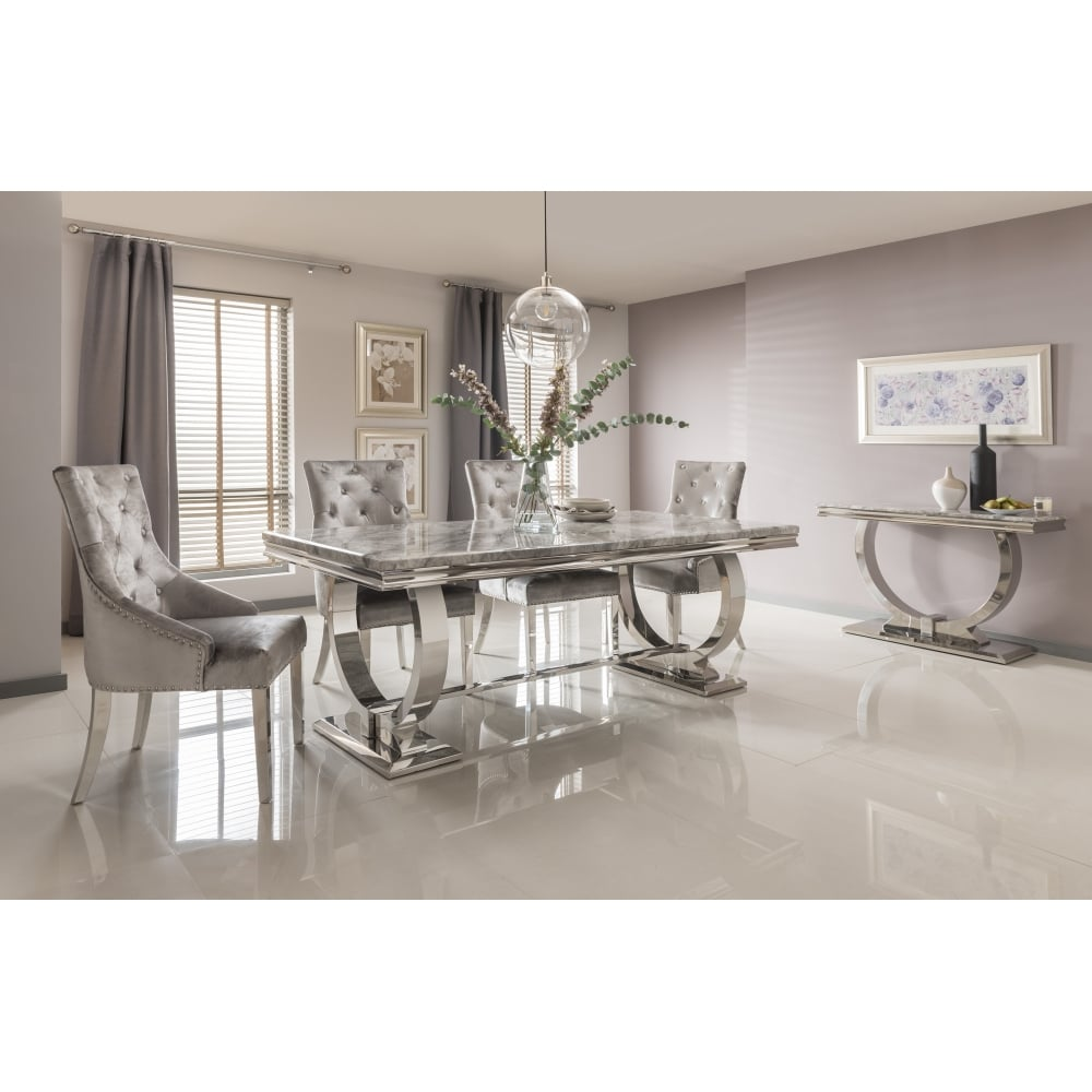 Arianna Marble Dining Table Set In Grey,