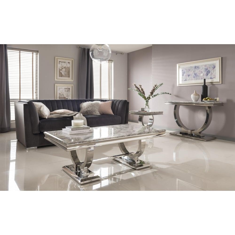 Arianna Marble Lamp Table Grey