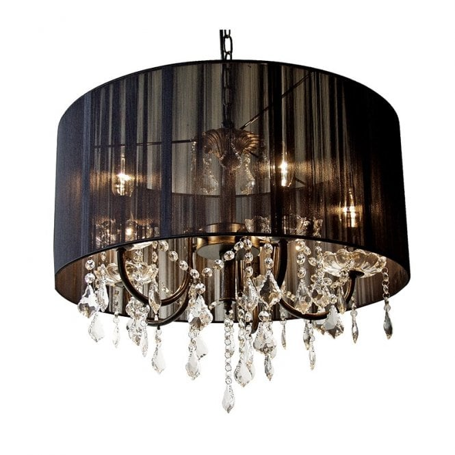 Black Pleated Shade Gl Chandelier
