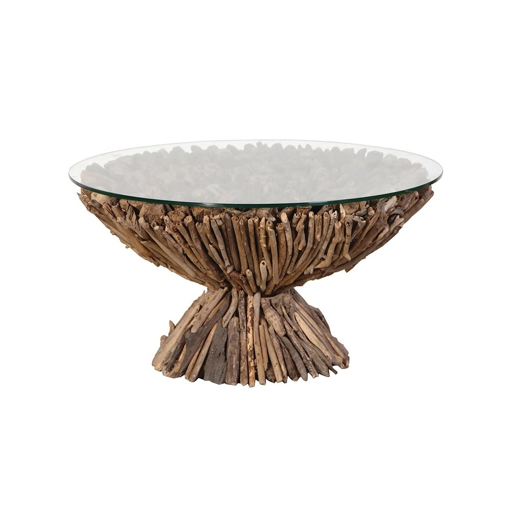 Round Pedestal Driftwood Coffee Table With Glass Top