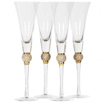 Set of 4 Crystal Ball Champagne Glasses