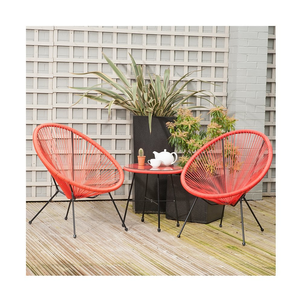 Red Pu Rio 3 Piece Bistro Set Outdoor Living From Breeze Furniture Uk