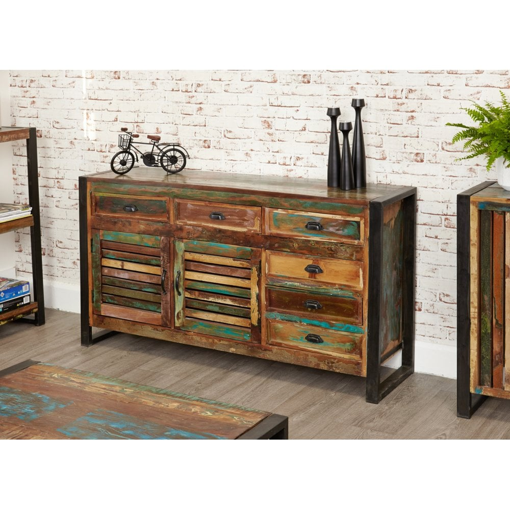 Urban Chic Reclaimed Wood 2 Door 6 Drawer Wide Sideboard