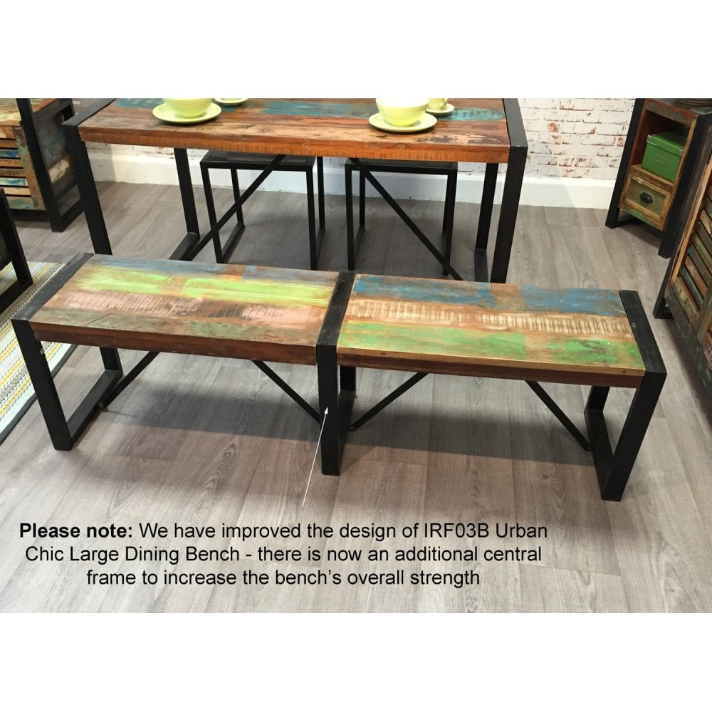 Urban Chic Reclaimed Wood Large Dining Bench