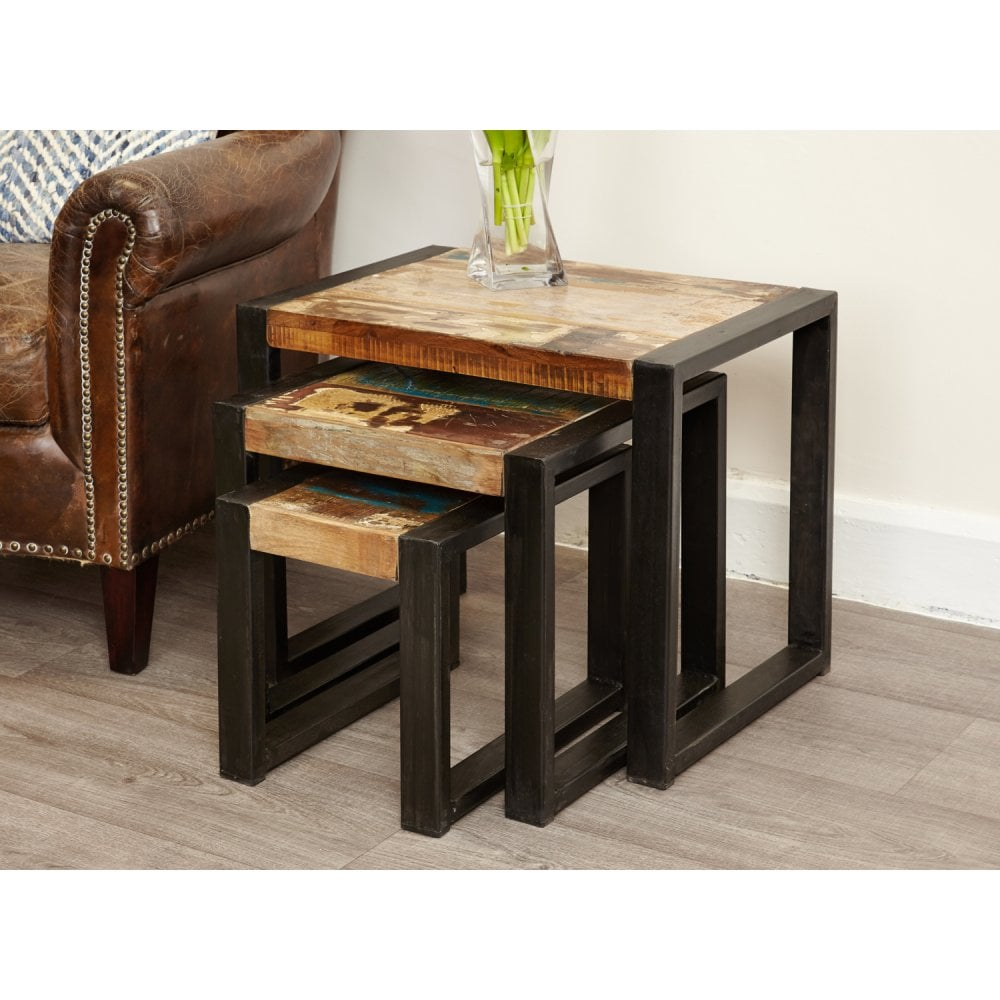 Urban Chic Reclaimed Wood Nest Of 3 Table