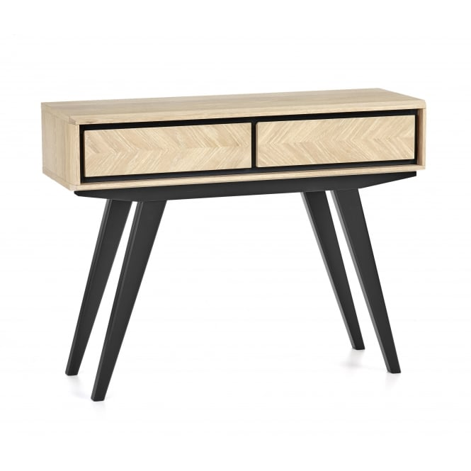 Bentley Designs Brunel Chalk Oak and Gunmetal Console Table