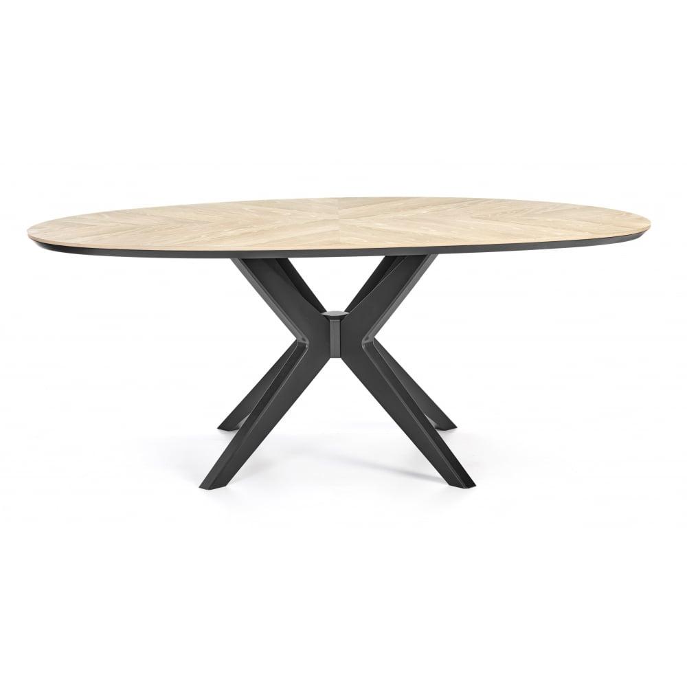 Brunel chalk oak and gunmetal dining table oval