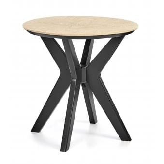 Brunel Chalk Oak and Gunmetal Lamp Table - Round
