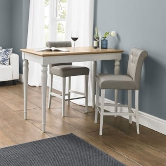 Hampstead Soft Grey and Oak Bar Table with 2 Olive Grey Bonded Leather Upholstered Stools