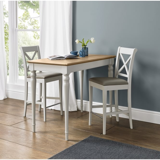 Bentley Designs Hampstead Soft Grey And Oak Bar Table With