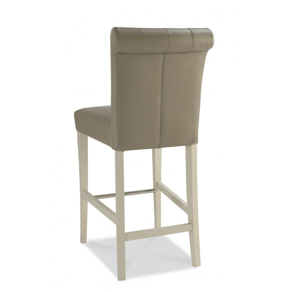 Hampstead soft grey upholstered bar stool pair