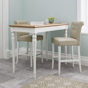 Bentley Designs Hampstead Two Tone Bar Table with 2 Ivory Bonded Leather Upholstered Stools