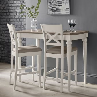 Montreux Bar Table - Grey Washed Oak - Soft Oak - With 2 X-Back Bar Stools