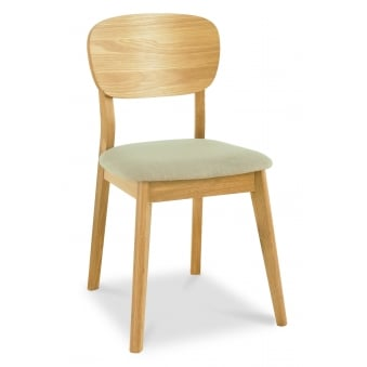 Oslo Oak Dining Chair - Veneered Back And Stone Fabric (Pair)