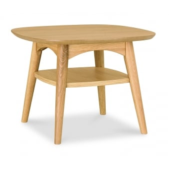 Oslo Oak Lamp Table with Shelf