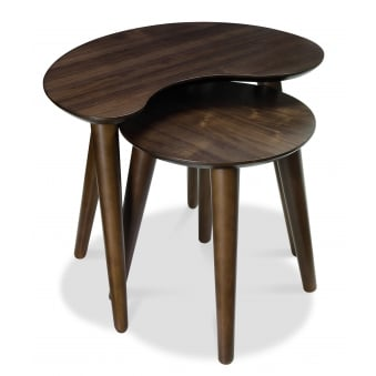 Oslo Walnut Nest of Lamp Table