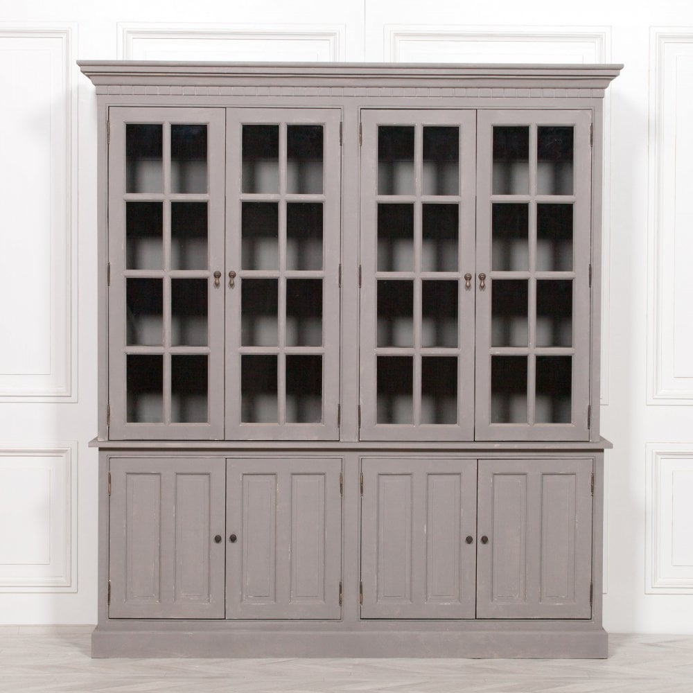 Chalky Rustic Grey Painted Display, Dining Room Cupboards Uk