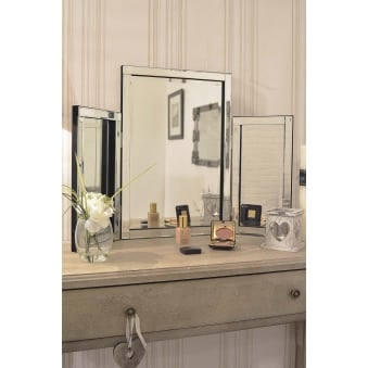 CHERWELL SILVER GLASS VENETIAN DRESSING TABLE MIRROR