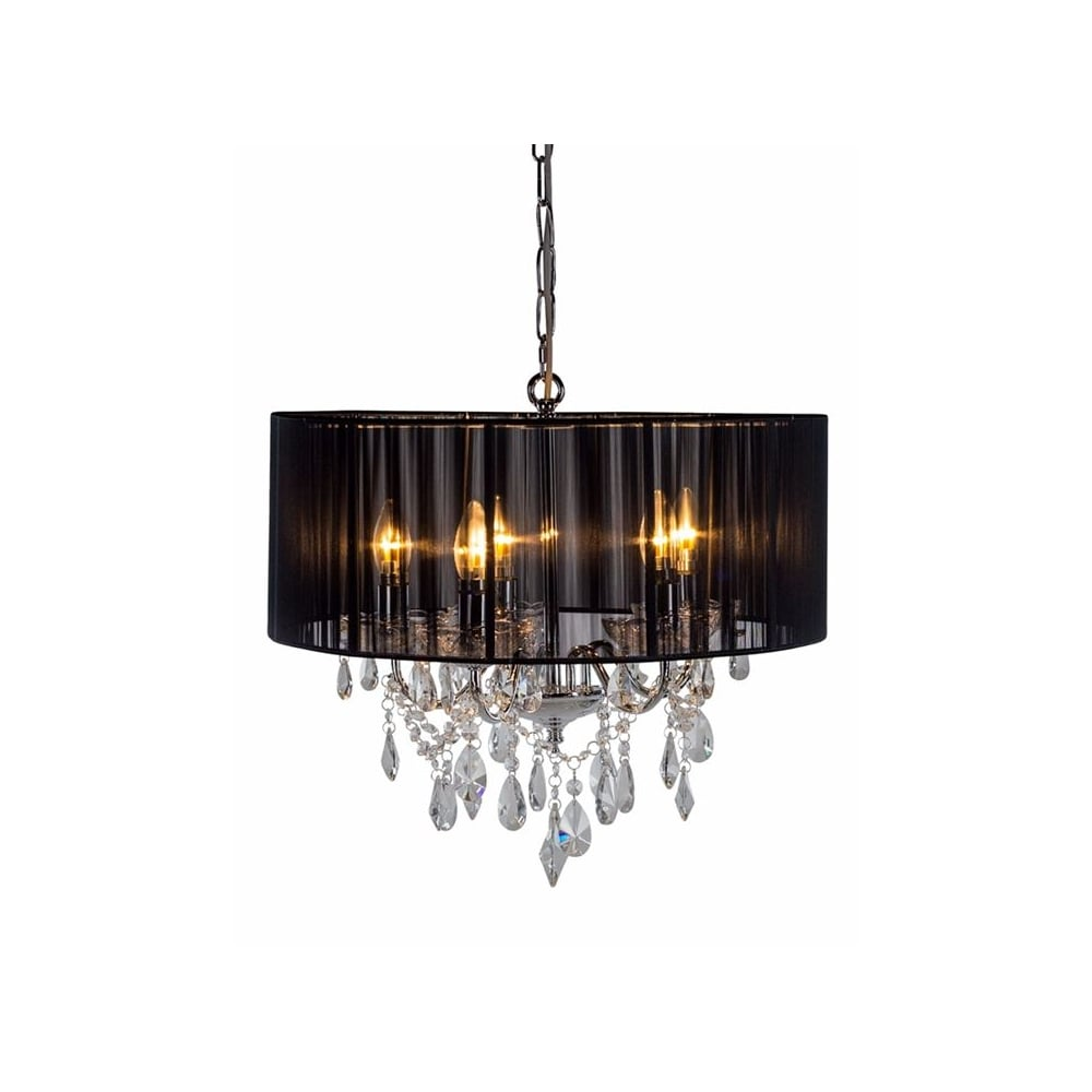 Chrome 5 Branch Chandelier With Black