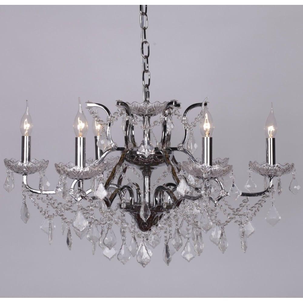 6 Branch Shallow Cut Gl Chandelier
