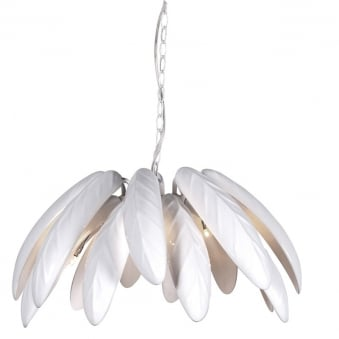 Large White Leaves Ceiling Lamp