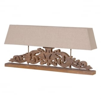 Wide Carved Lamp with Shade