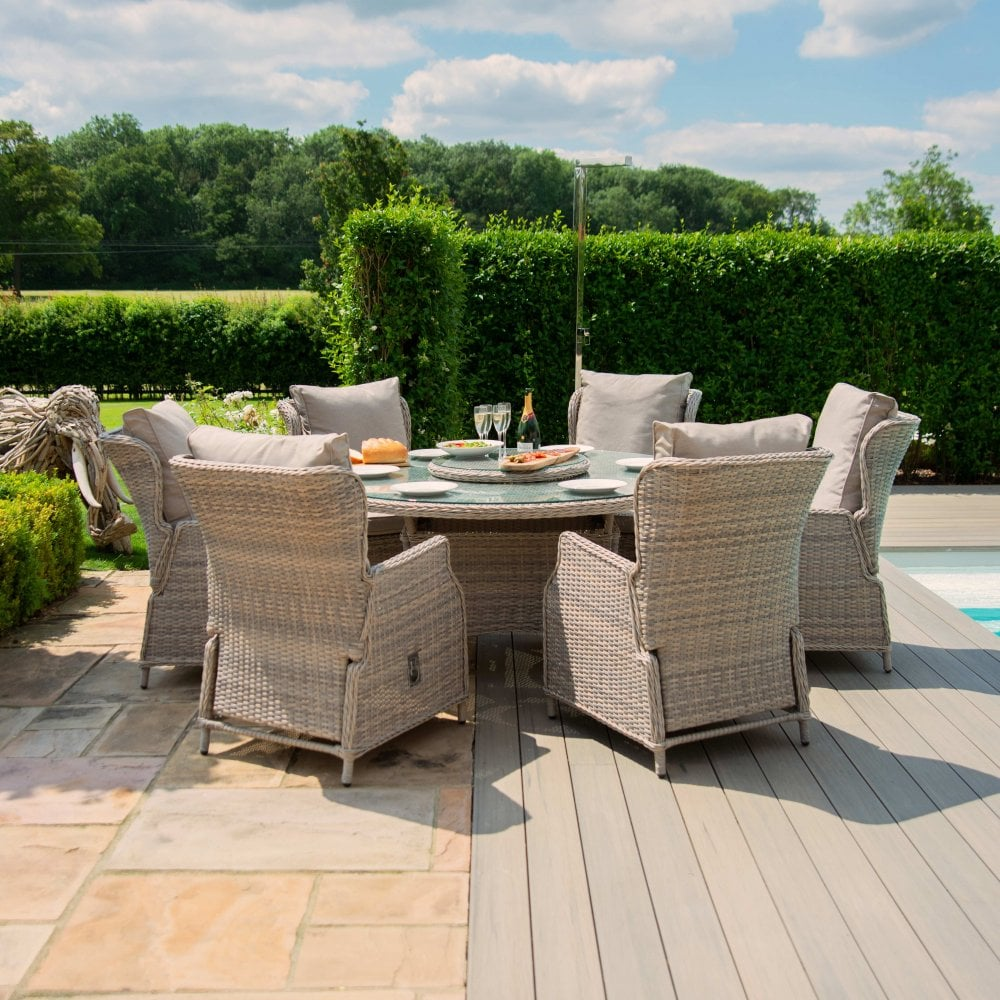 Cotswold Reclining 6 Seat Round Dining Set With Woven Lazy Susan