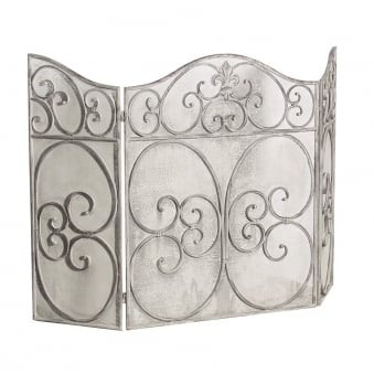 Grey-Wash Metal Fire Screen