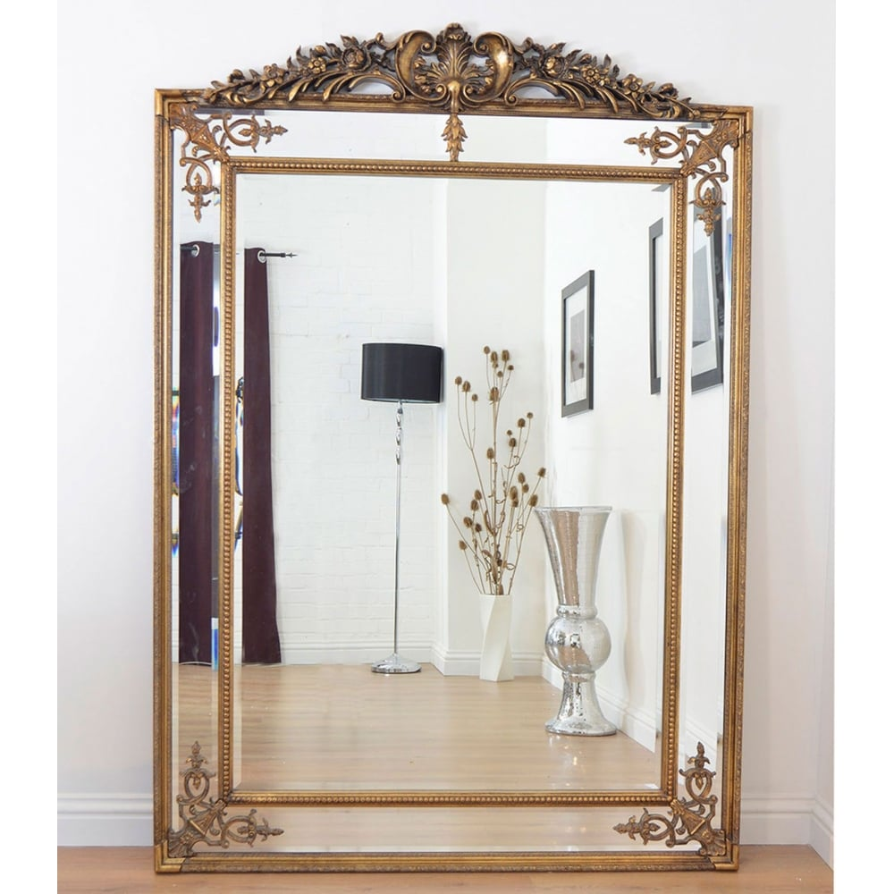 Hardy Gold Gilt Antique Crested All Glass Large Leaner Mirror Accessories From Breeze Furniture Uk