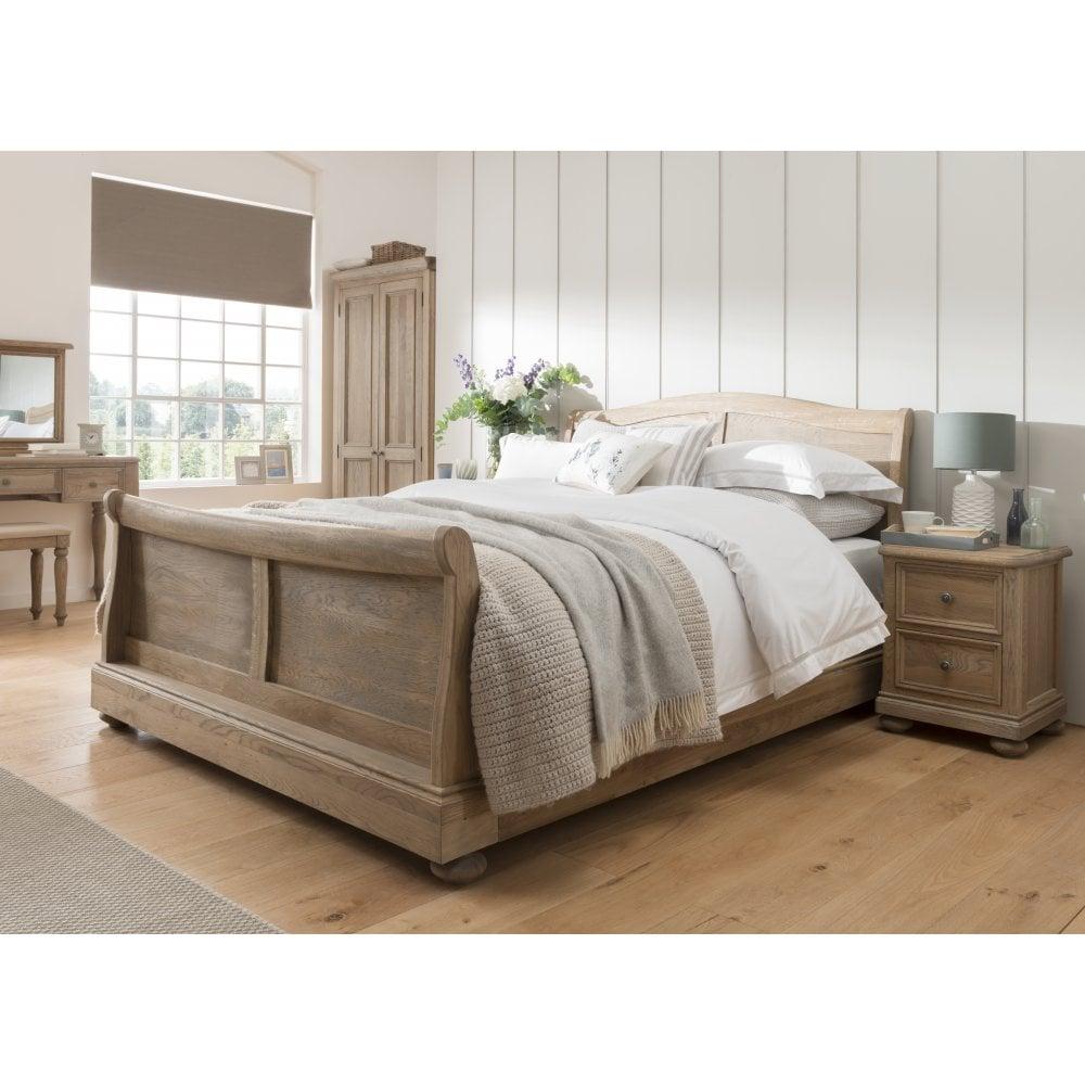 - Harper Oak Sleigh Bed - Bedroom From Breeze Furniture UK