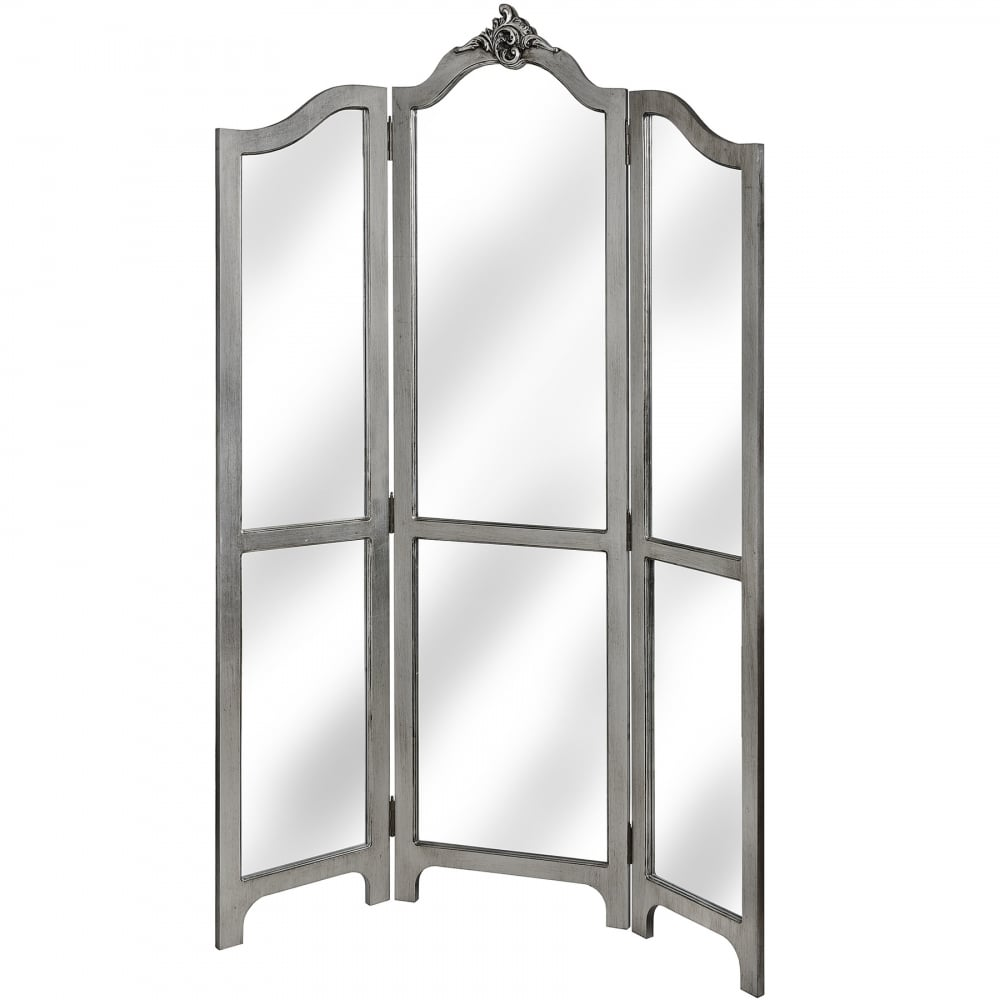 Estelle collection silver leaf three panel mirrored room divider
