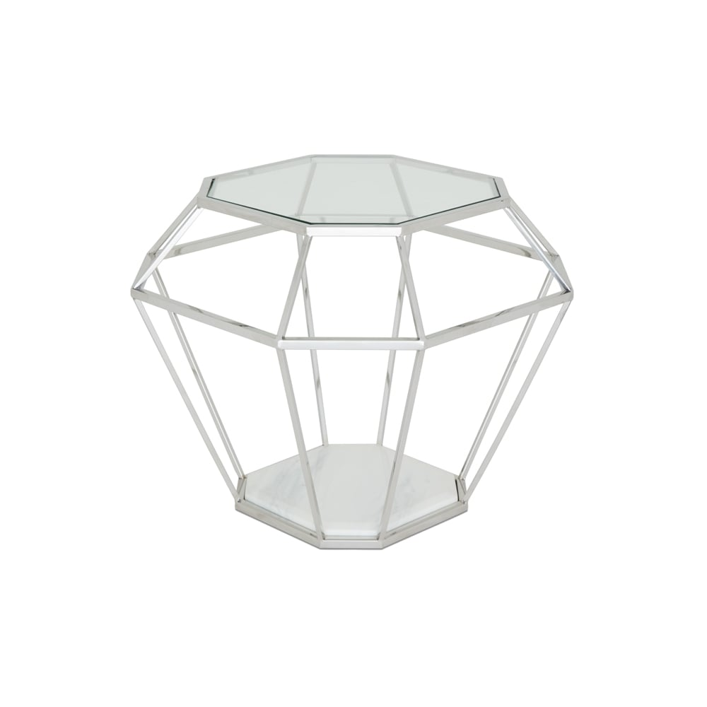 Iris Lamp Table Polished Stainless Steel