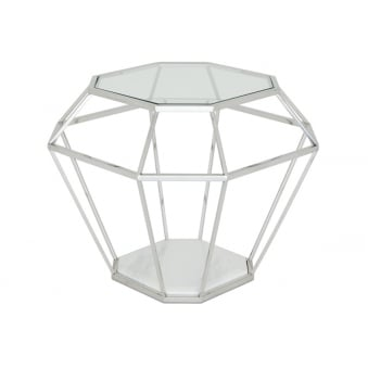Iris Lamp Table - Polished Stainless Steel