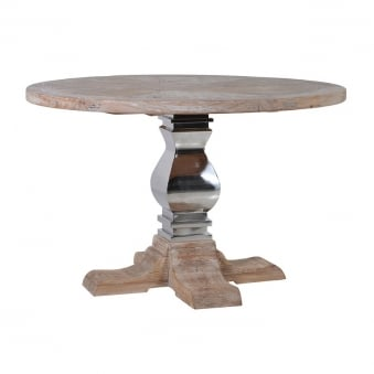 Knightsbridge Reclaimed Wood & Stainless Steel Refectory Circular Round Dining Table