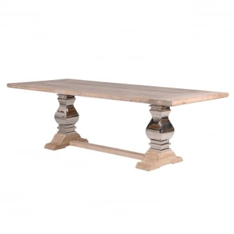 Knightsbridge Reclaimed Wood & Stainless Steel Refectory Dining Table