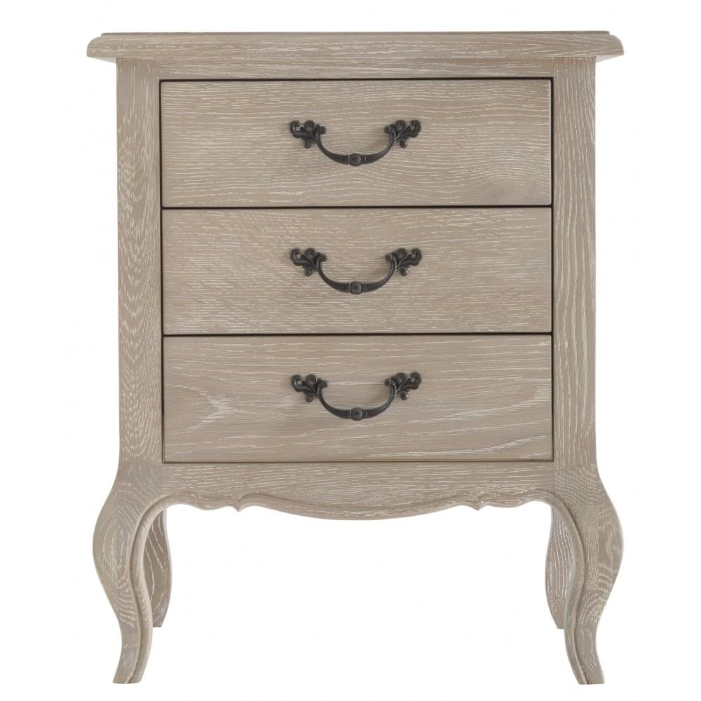 La Rochelle French Style Weathered Lime Washed Oak Bedside Cabinet Large
