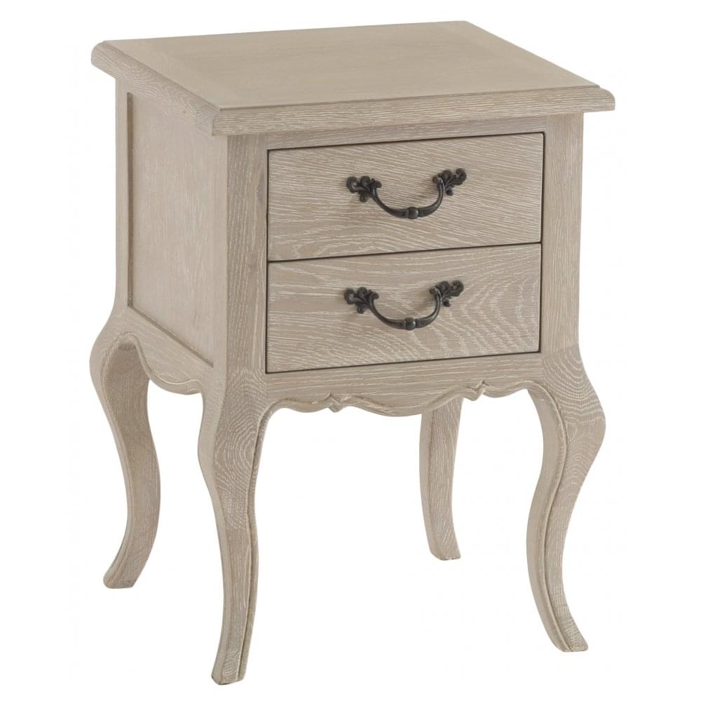 La Rochelle French Style Weathered Lime Washed Oak Bedside Cabinet