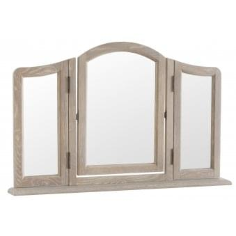 La Rochelle French Style Weathered Lime Washed Oak Trinket Mirror