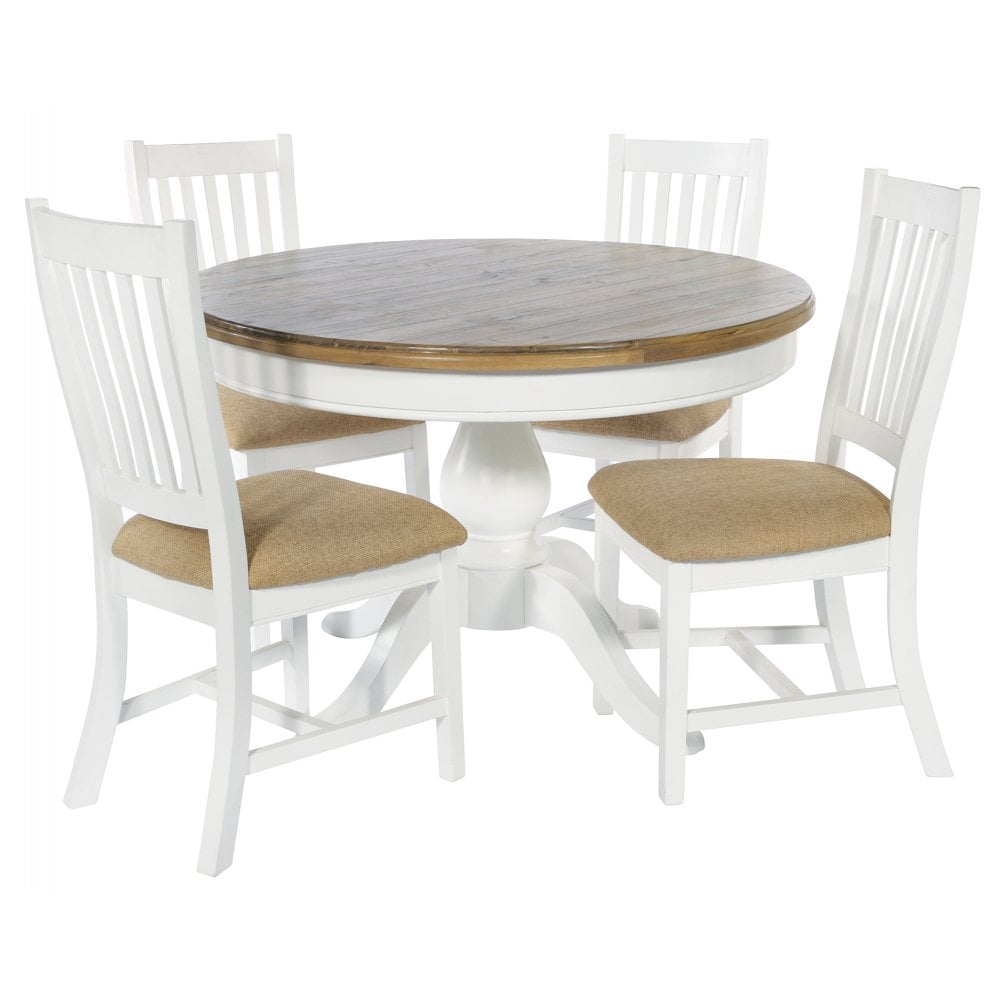 Lulworth White Round Dining Table And 4 Slatted Chairs Dining Room From Breeze Furniture Uk
