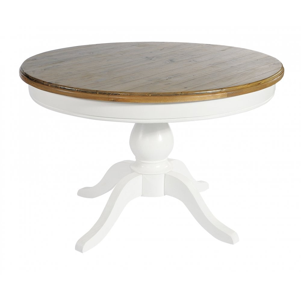 Lulworth White Round Dining Table and 9 Slatted Chairs