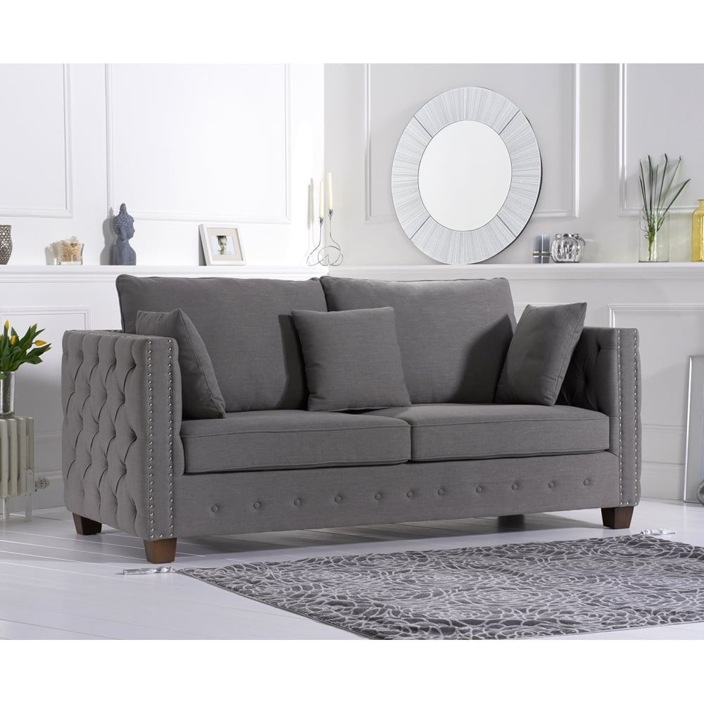 Living Room Fabric Sofas: Ali Grey Linen Fabric Three Seater Sofa