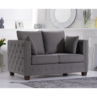 Ali Grey Linen Fabric Two Seater Sofa
