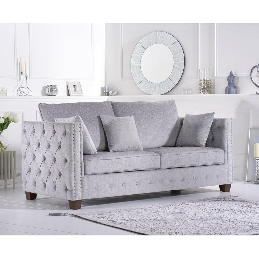 Ali Grey Plush Fabric Three Seater Sofa