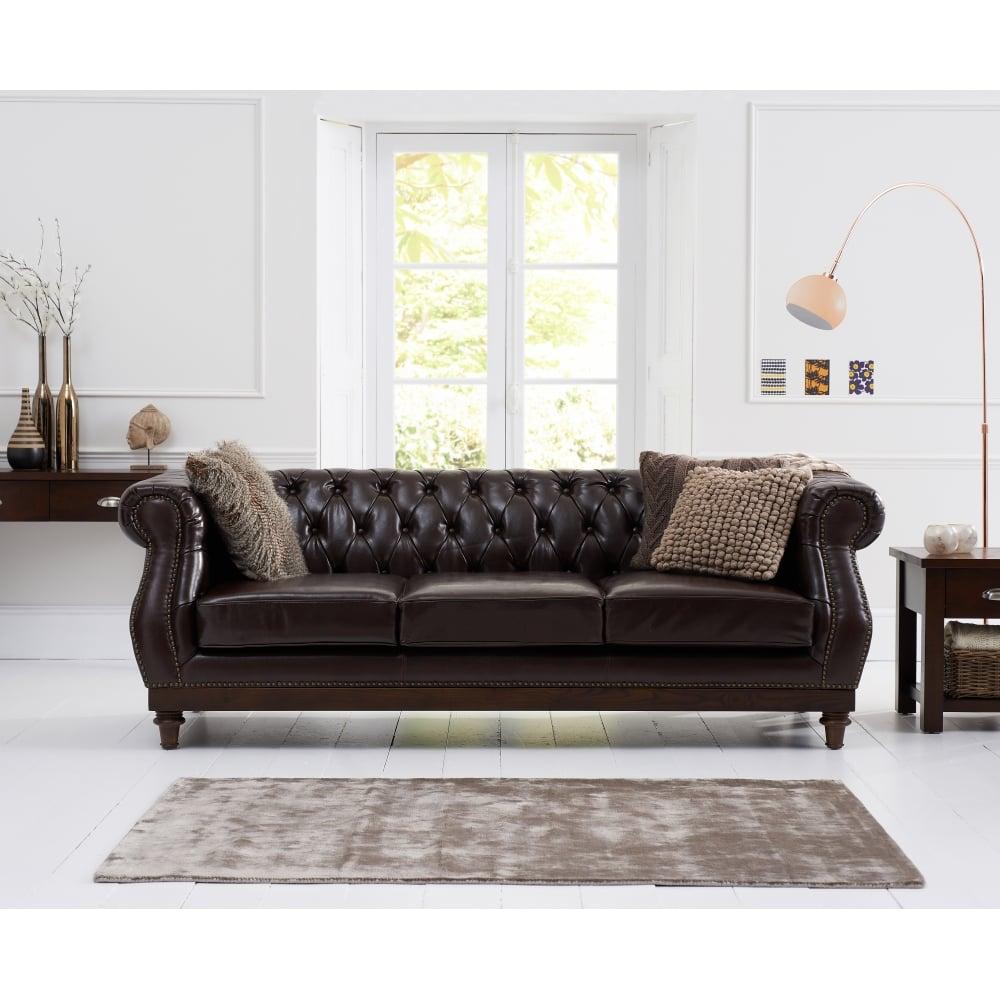 Highgrove Brown Leather 3 Seater Sofa