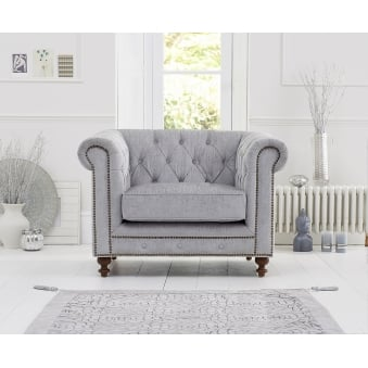 Montrose Grey Fabric Armchair with Dark Ash Wooden Legs